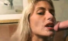 amateur blowjob and facial cumshot all over her glasses