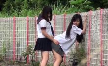 Skanky teens watched piss