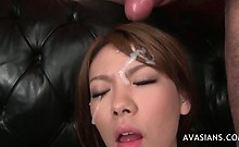 Asian gets huge cum shot in her face