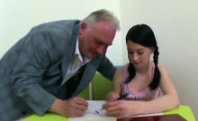 Sensual schoolgirl was seduced and drilled by her older tuto