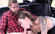 Bearded dude seduces female fake taxi driver