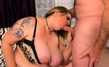 Fat Honey Diddles Herself, Sucks Cock and Fucks