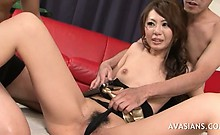 Hairy asian girl fisted deep in her pussy