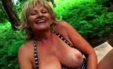 Pretty Granny Gets Banged Outdoors