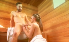 Blonde With Long Legs Fucked By A Stranger In A Sauna