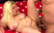 Blonde plumper gets her pussy rubbed and tits sucked She