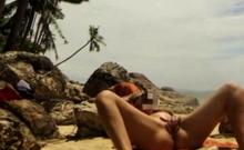 Thailand public beach masturbation and orgasm