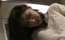 Stunning asian babe's hairy cookie fucked hard with creampie