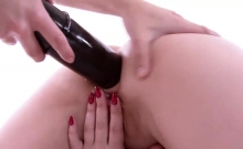 Kinky Lesbo Taking Huge Dildo Up Her Ass