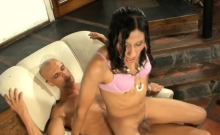 Strong guy pleases a brunette tranny