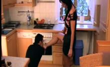 Femdom Ladies kicks slaves with naked feet
