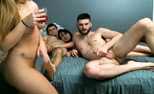 Blonde Brunette In Group Sex