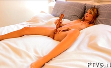 Spicy barely legal blonde Lauren sex-toy her perfect pussy