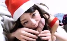 Beautiful Japanese girl sucks cock and fucks doggystyle