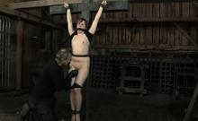 Vigorous girl is masturbating with a sex tool