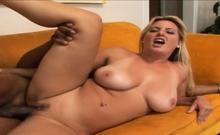 Busty MILF Blonde Rides A Big Black Cock