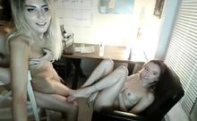 Two American college girls having fun with their roommate li