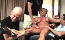 Old mature white woman and younger black having group sex