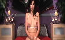Vaniity fingers her ass and jerks off