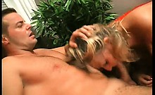 Nasty blonde ripe whore with big ass makes her man's cock