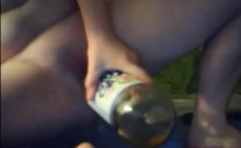 crazy teen piss in bottle and drink it