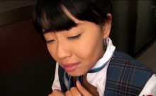 Throatfucking a hot Japanese schoolgirl